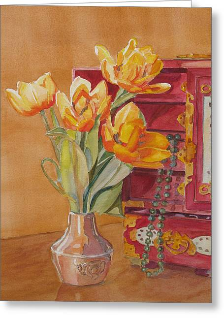 Jade And Tulips Greeting Card by Jenny Armitage