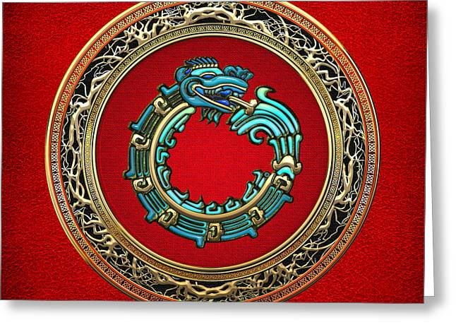 Jade Serpent God Quetzalcoatl  Greeting Card by Serge Averbukh
