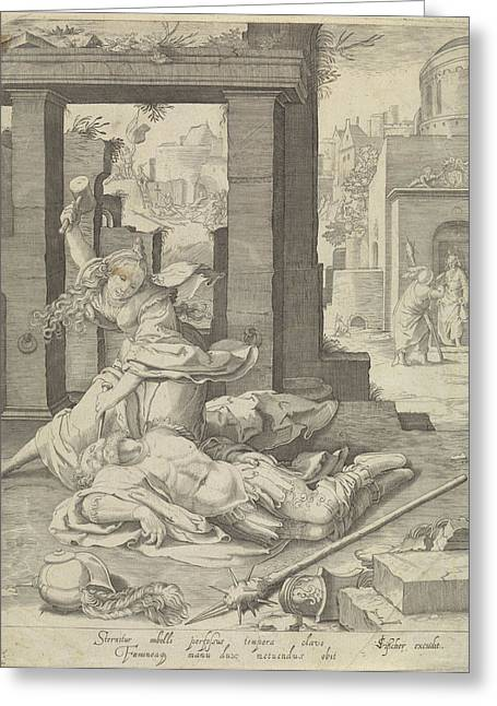Jael And Sisera, Anonymous, Jan Saenredam Greeting Card by Jan Saenredam And Claes Jansz. Visscher (ii)