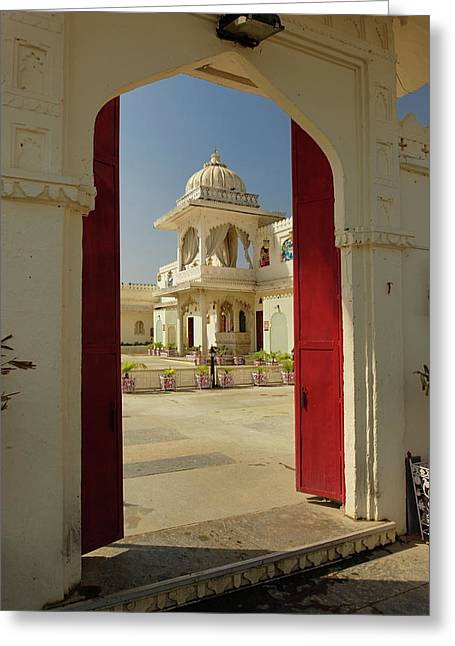 Jag Mindar Palace / Lake Pichola Greeting Card by Adam Jones