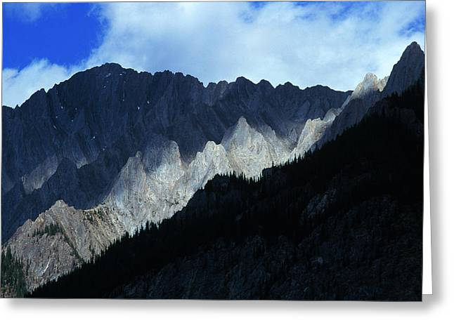 Jagged Mountains Of Banff National Greeting Card