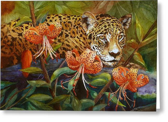 Greeting Card featuring the painting Jaguar And Tigers by Karen Mattson