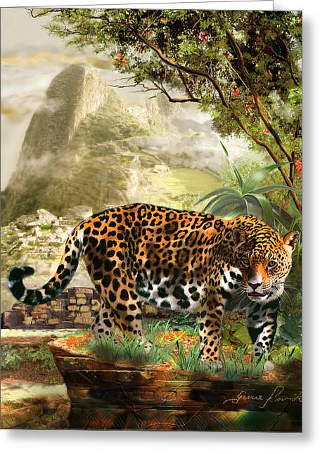 Jaguar In The Shadow Of  Machu Picchu Peru Greeting Card