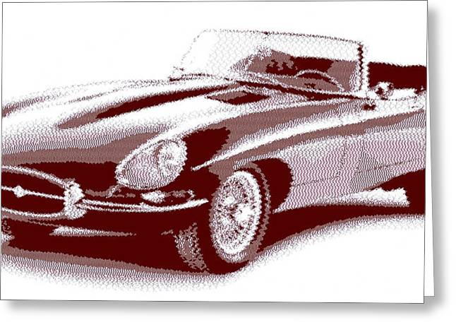 Jaguar E-type - Cross Hatching Greeting Card