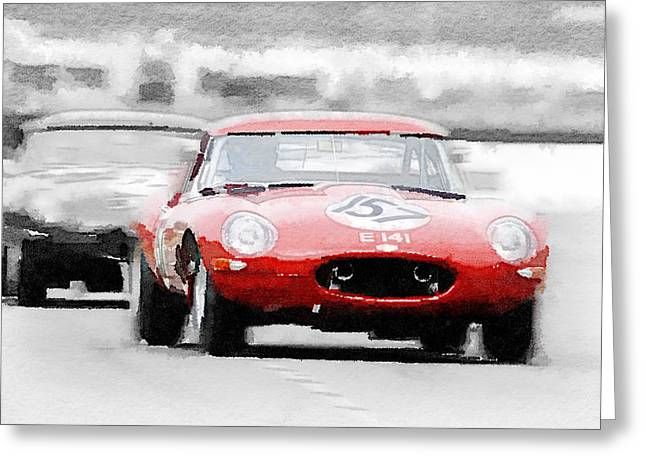Jaguar E-type Racing Watercolor Greeting Card by Naxart Studio