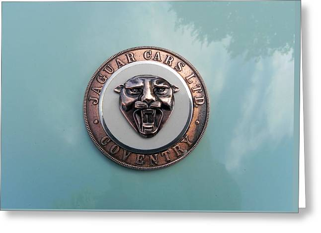 Greeting Card featuring the photograph Jaguar Hood Emblem by Cheryl Hoyle