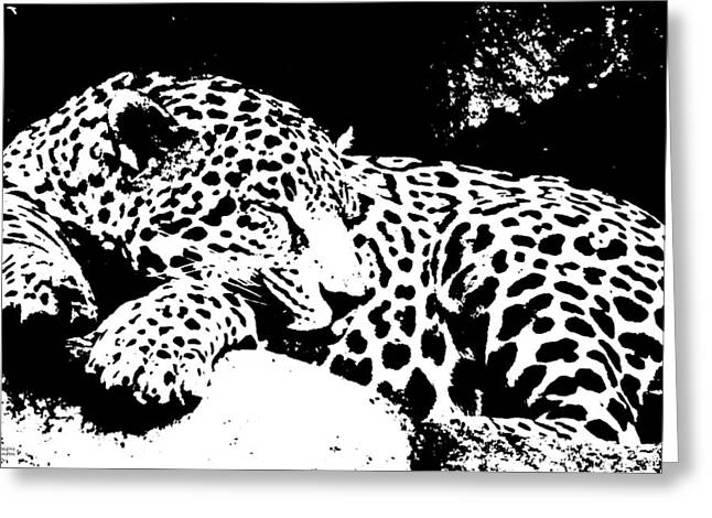 Jaguar In Reverse Greeting Card by Teresa Blanton