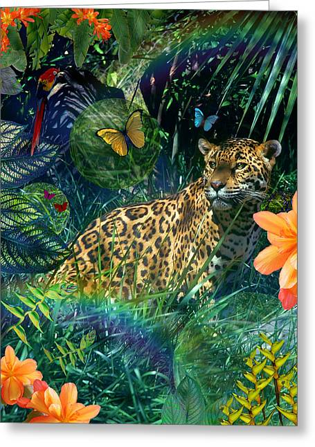 Jaguar Meadow Greeting Card