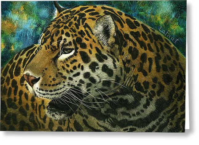 Greeting Card featuring the mixed media Jaguar by Sandra LaFaut