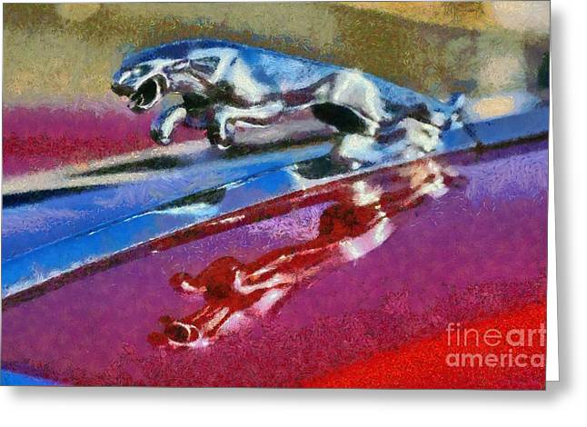 Jaguar V12 Badge Greeting Card