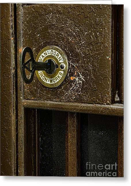 Jail Cell Door Lock  And Key Close Up Greeting Card by Paul Ward