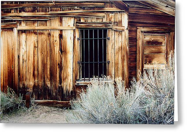 Greeting Card featuring the photograph Jailhouse In Bodie State Park California by Mary Bedy