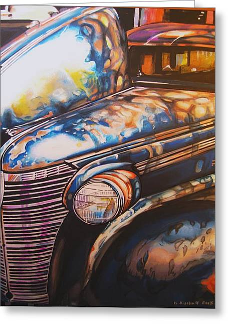 Jalopy Greeting Card by Kathleen Bischoff