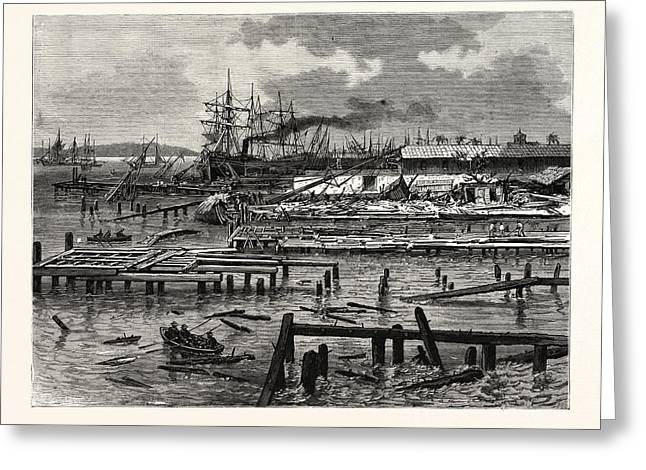 Jamaica, The Cyclone Of July Appearance Of The Wharves Greeting Card