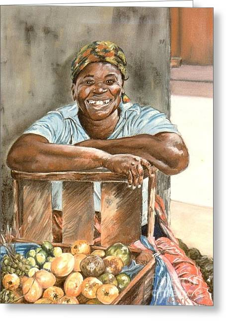 Jamaican Fruit Seller Greeting Card by John Clark