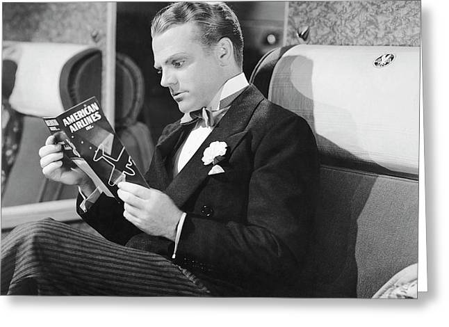 Jame Cagney On Airplane Greeting Card by Underwood Archives