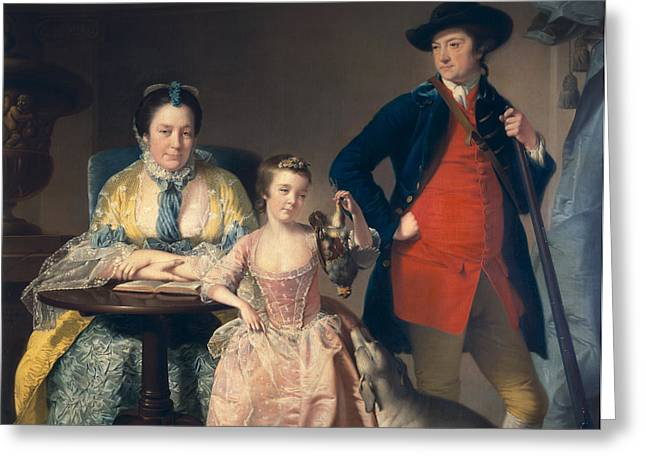 James And Mary Shuttleworth With One Of Their Daughters, 1764 Greeting Card
