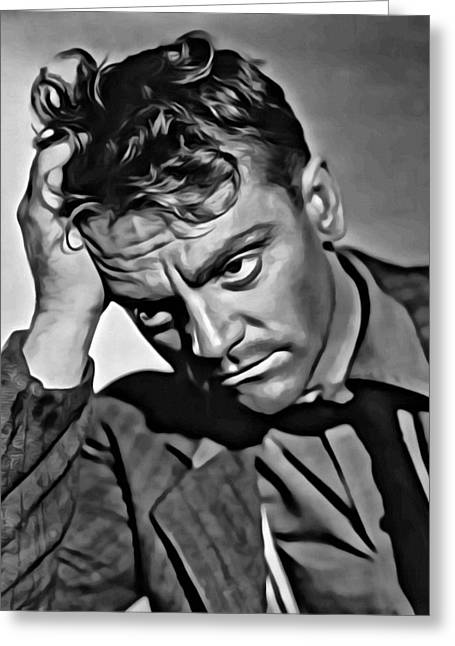 James Cagney Portrait Greeting Card by Florian Rodarte