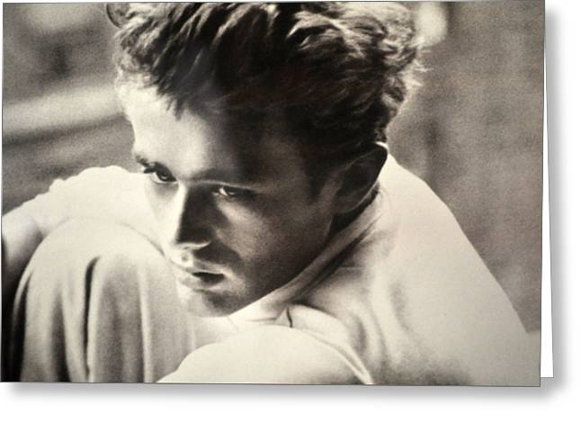 James Dean Black And White Greeting Card