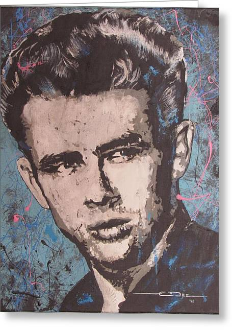 Greeting Card featuring the painting James Dean Blues by Eric Dee