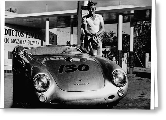 James Dean Filling His Spyder With Gas In Black And White Greeting Card