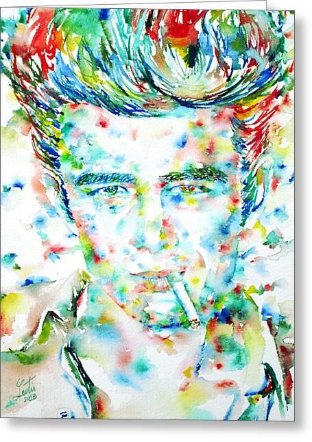 James Dean Smoking Cigarette - Watercolor Portarit Greeting Card