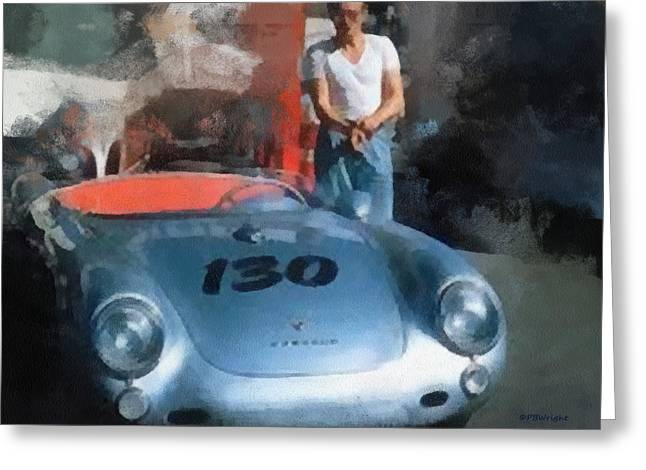 James Dean With His Spyder Greeting Card by Paulette B Wright