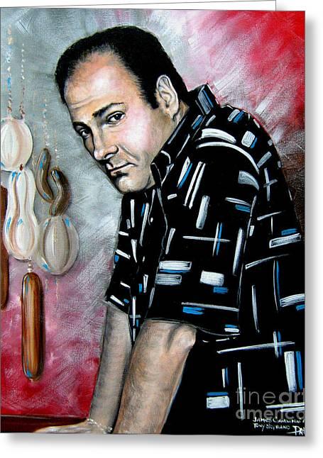 Greeting Card featuring the painting James Gandolfini As Tony Soprano by Patrice Torrillo
