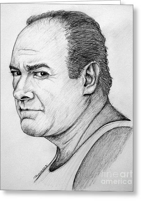 Greeting Card featuring the drawing James Gandolfini by Patrice Torrillo