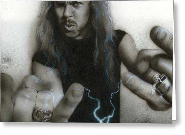 Metallica Greeting Cards - James Hetfield Greeting Card by Christian Chapman Art