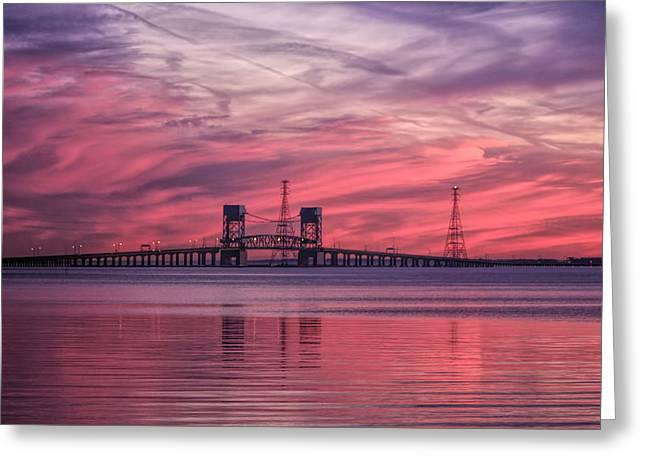 James River Bridge At Sunset Greeting Card