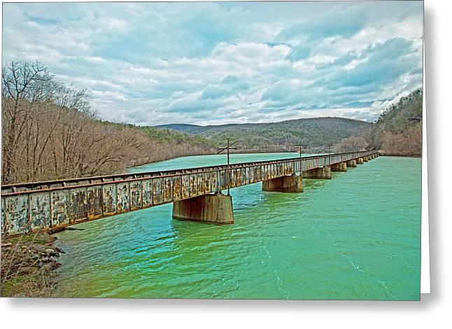 James River Railroad Crossing Greeting Card by Betsy Knapp