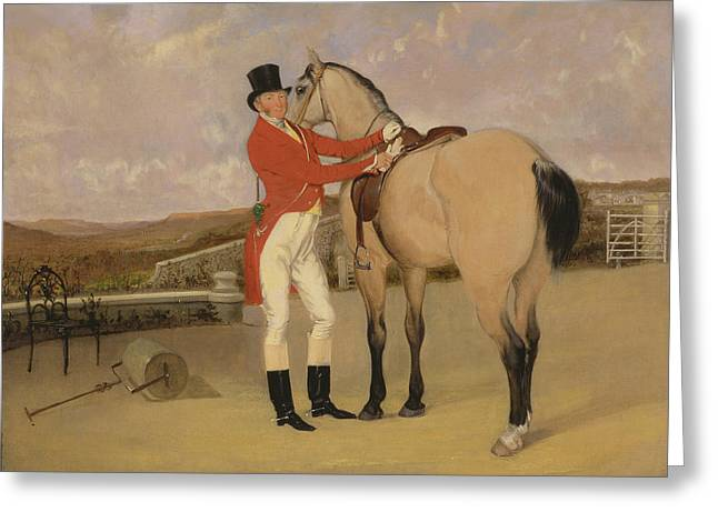 James Taylor Wray Of The Bedale Hunt With His Dun Hunter Greeting Card