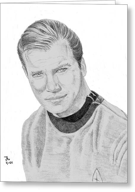 Greeting Card featuring the drawing James Tiberius Kirk by Thomas J Herring