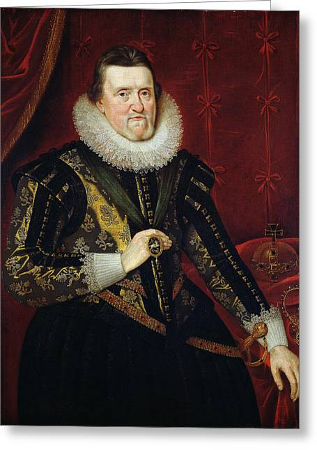 James Vi Of Scotland And I Of England And Ireland  1566-1625 Oil On Canvas Greeting Card by Adam de Colone