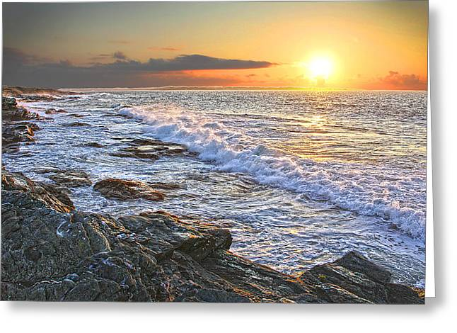 Jamestown Surf At First Light Greeting Card by Richard Trahan