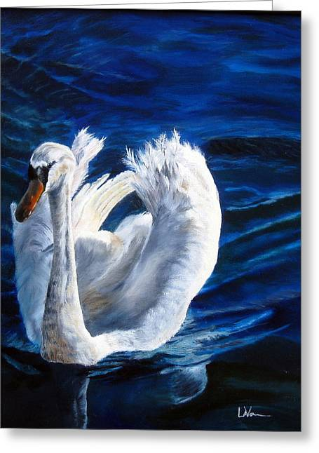 Jamie's Swan Greeting Card by LaVonne Hand