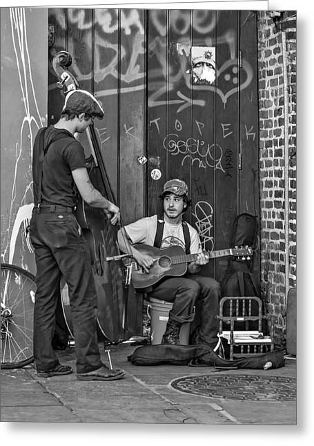 Jammin' In The French Quarter Bw Greeting Card by Steve Harrington