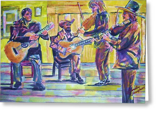 Jammin Greeting Card by Linda Vaughon