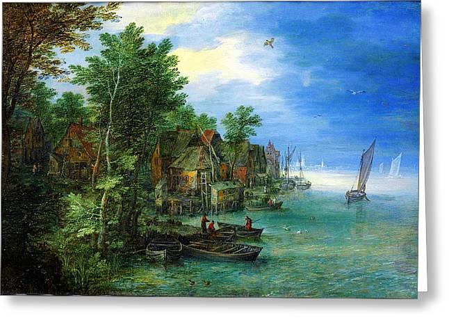 Jan Brueghel The Elder Gezicht Op Een Dorp Aan Een Rivier 1604 Greeting Card
