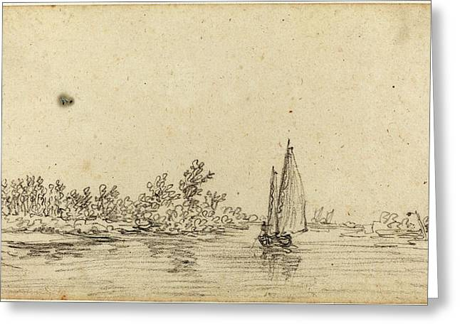 Jan Van Goyen Dutch, 1596 - 1656, Sailboat On An Estuary Greeting Card by Quint Lox