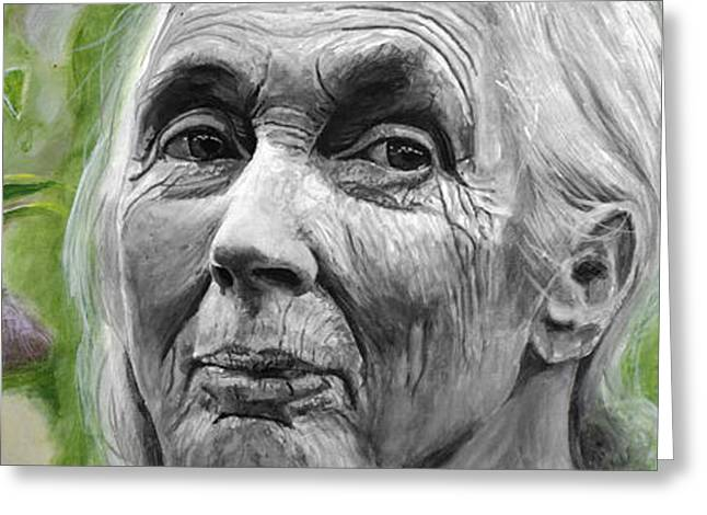Jane Goodall Greeting Card by Simon Kregar