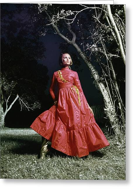 Jane Hitchcock Wearing A Pink Dress Greeting Card