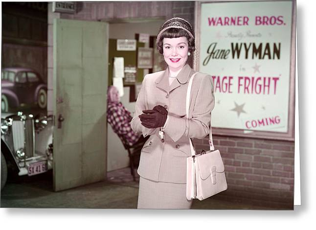 Jane Wyman In Stage Fright  Greeting Card