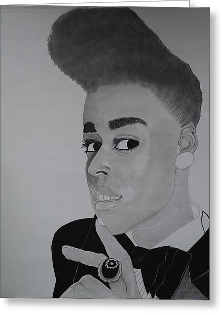 Janelle Monae Greeting Card by Ordette Rocque