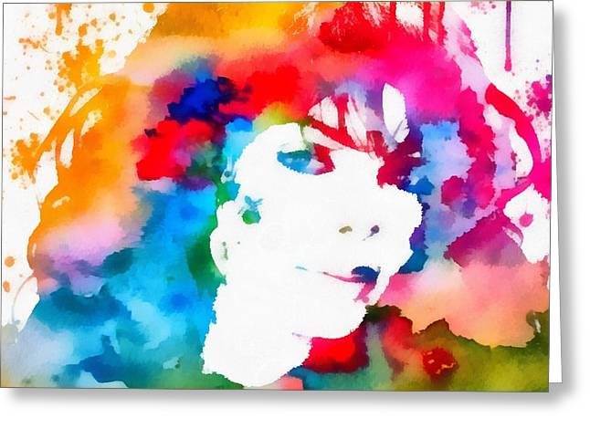 Janet Jackson Watercolor Paint Splatter Greeting Card by Dan Sproul