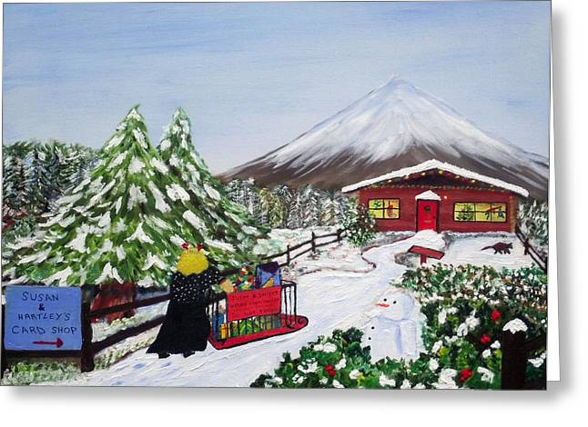 Janet's Winter Walk Greeting Card by Martin Blakeley