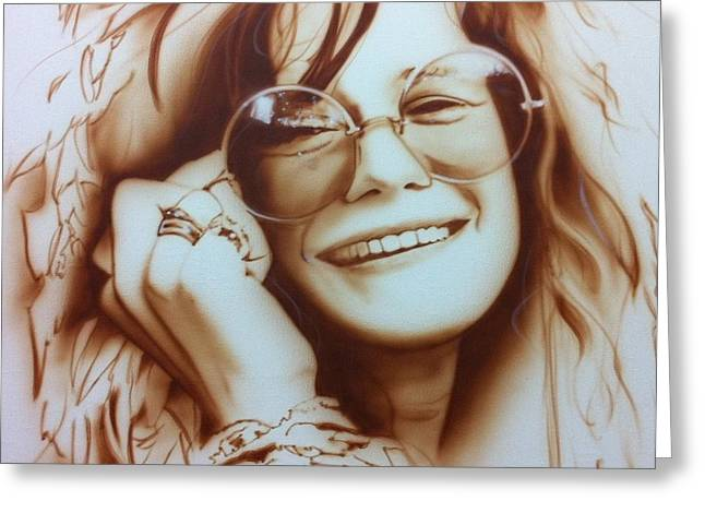 Janis Joplin - ' Janis ' Greeting Card by Christian Chapman Art