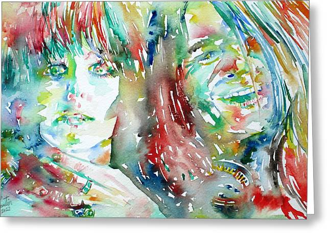 Janis Joplin And Grace Slick Watercolor Portrait.1 Greeting Card by Fabrizio Cassetta