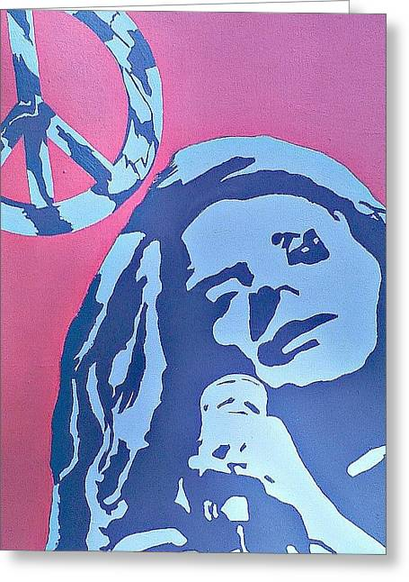 Janis Joplin Greeting Card by Lew Griffin